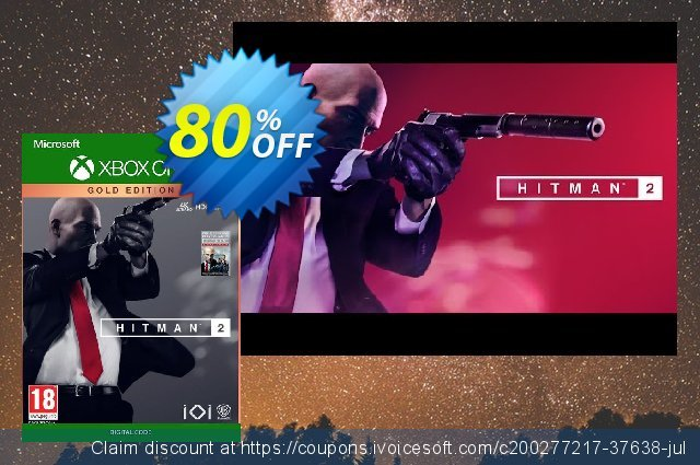 Hitman 2 - Gold Edition Xbox One (US) discount 75% OFF, 2021 World Day of Music offering sales. Hitman 2 - Gold Edition Xbox One (US) Deal 2021 CDkeys