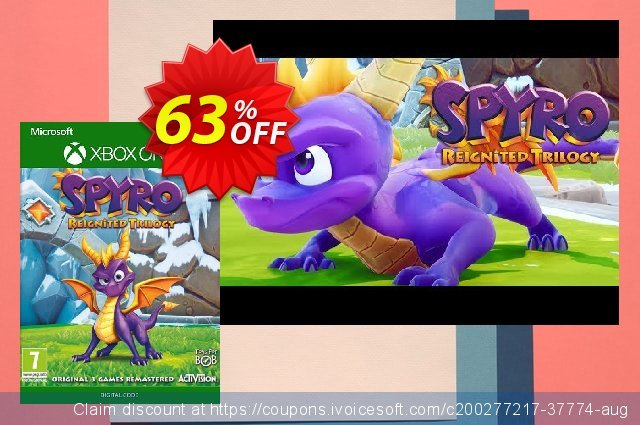 Spyro Reignited Trilogy Xbox One (UK) discount 63% OFF, 2021 Global Running Day offering sales. Spyro Reignited Trilogy Xbox One (UK) Deal 2021 CDkeys