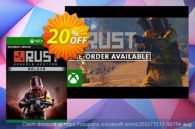 Rust Console Edition - Deluxe Edition Xbox One (UK) discount 20% OFF, 2021 Oceans Month promo sales. Rust Console Edition - Deluxe Edition Xbox One (UK) Deal 2021 CDkeys