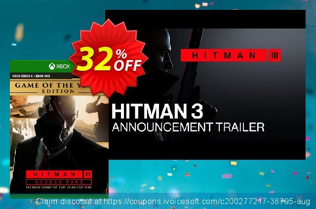 Hitman 3 Access Pass:  Hitman 1 GOTY Edition Xbox One (UK) discount 32% OFF, 2021 World Day of Music offering sales. Hitman 3 Access Pass:  Hitman 1 GOTY Edition Xbox One (UK) Deal 2021 CDkeys