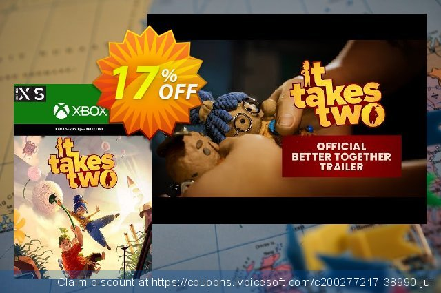 It Takes Two Xbox One/ Xbox Series X|S (UK) discount 17% OFF, 2021 World Day of Music offering sales. It Takes Two Xbox One/ Xbox Series X|S (UK) Deal 2021 CDkeys