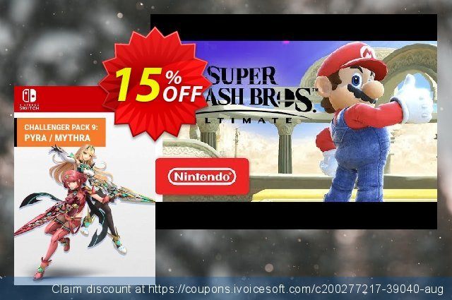 Super Smash Bros. Ultimate: Pyra & Mythra Challenger Pack 9 Switch (EU) discount 15% OFF, 2021 Oceans Month promo. Super Smash Bros. Ultimate: Pyra & Mythra Challenger Pack 9 Switch (EU) Deal 2021 CDkeys