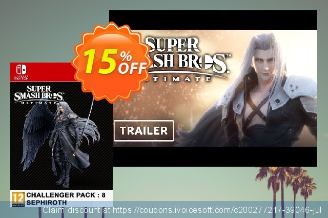 Super Smash Bros. Ultimate Challenger Pack 8 Sephiroth Switch (EU) discount 15% OFF, 2021 Immigrants Day promotions. Super Smash Bros. Ultimate Challenger Pack 8 Sephiroth Switch (EU) Deal 2021 CDkeys