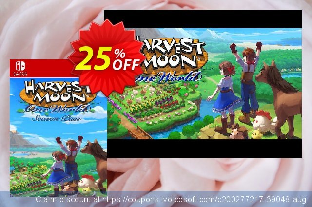 Harvest Moon: One World - Season Pass Switch (EU) discount 25% OFF, 2021 Global Running Day offering sales. Harvest Moon: One World - Season Pass Switch (EU) Deal 2021 CDkeys