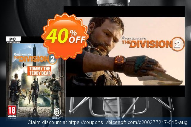 Tom Clancy's The Division 2 PC Inc. Teddy Bear DLC discount 40% OFF, 2021 Mother's Day discount. Tom Clancy's The Division 2 PC Inc. Teddy Bear DLC Deal
