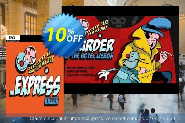 Detective Case and Clown Bot in Murder in the Hotel Lisbon PC discount 10% OFF, 2020 Back to School deals discounts