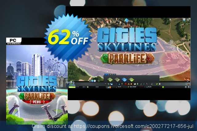 Cities Skylines - Parklife Plus DLC discount 64% OFF, 2020 Back to School promotion offering sales