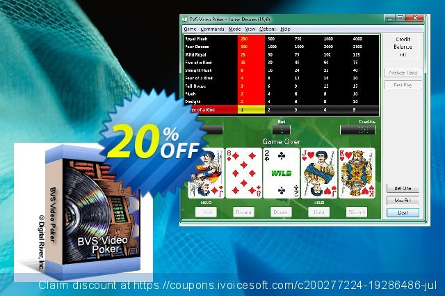 BVS Video Poker discount 20% OFF, 2020 Back to School deals offering sales