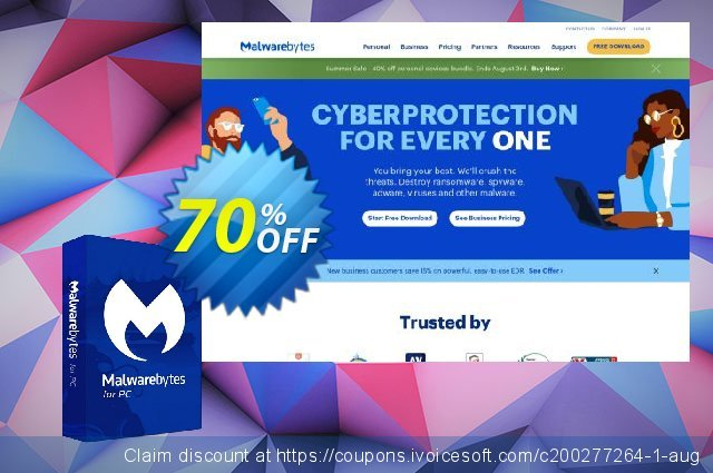 Malwarebytes Premium (2 years) discount 25% OFF, 2020 Back-to-School promotions offering sales