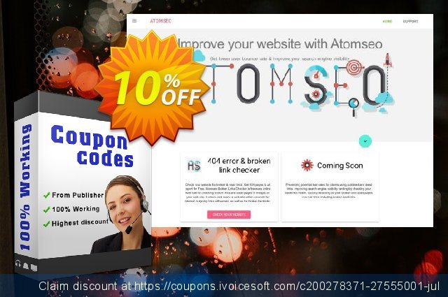 Atomseo Broken Links Checker. Professional Yearly Subscription Plan discount 10% OFF, 2020 Halloween offering sales