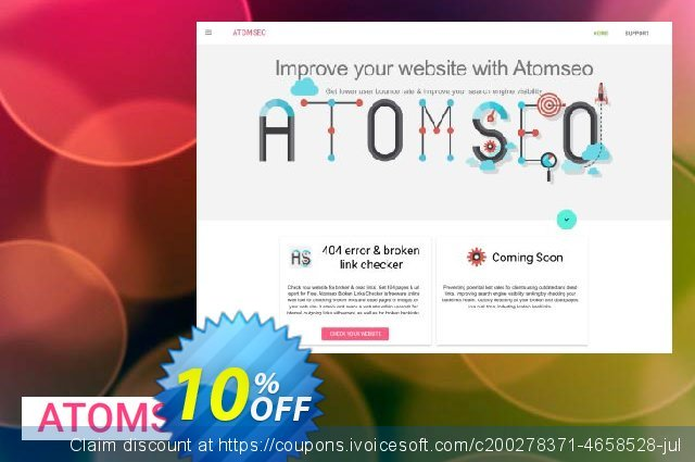 Atomseo Broken Links Checker. Professional Monthly Subscription Plan discount 10% OFF, 2020 Back to School Promos offering sales