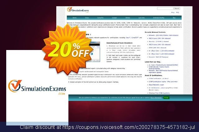 SimulationExams CCNA Practice Tests with Network Sim discount 20% OFF, 2021 Earth Hour promo