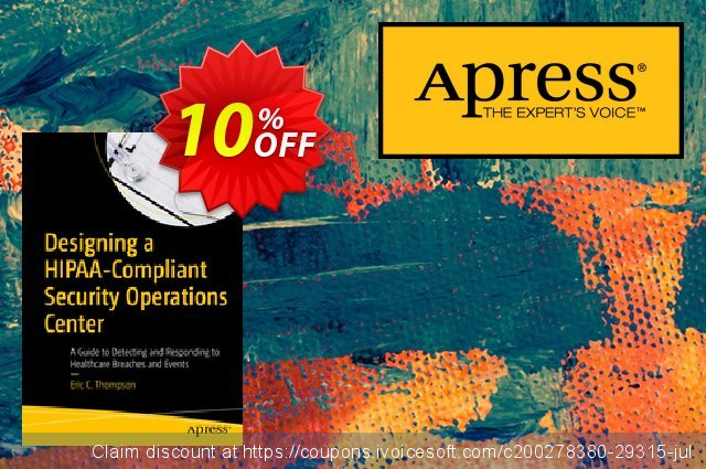 Designing a HIPAA-Compliant Security Operations Center (Thompson) discount 10% OFF, 2020 Back to School Promos promo sales
