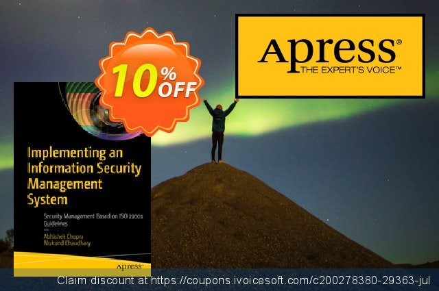 Implementing an Information Security Management System (Chopra) discount 10% OFF, 2020 Back to School shopping discounts
