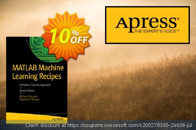 MATLAB Machine Learning Recipes (Paluszek) discount 10% OFF, 2020 Halloween offering sales