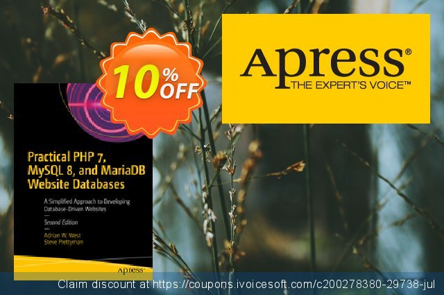 Practical PHP 7, MySQL 8, and MariaDB Website Databases (West) discount 10% OFF, 2020 Halloween offering sales