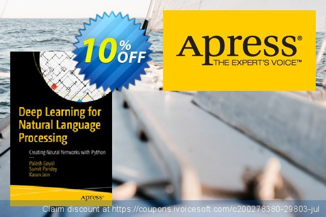 Deep Learning for Natural Language Processing (Goyal) discount 10% OFF, 2021 New Year's Day offering sales