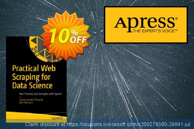 Practical Web Scraping for Data Science (Vanden Broucke) discount 10% OFF, 2020 Halloween offer