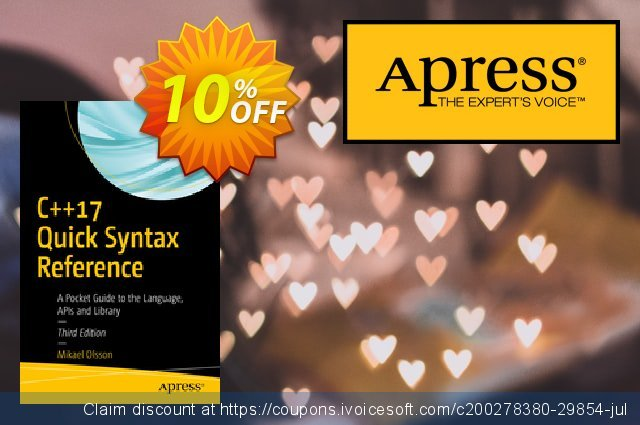 C++17 Quick Syntax Reference (Olsson) discount 10% OFF, 2020 Halloween offering sales