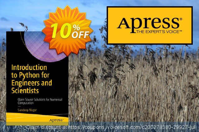 Introduction to Python for Engineers and Scientists (Nagar) discount 10% OFF, 2020 Thanksgiving offering sales