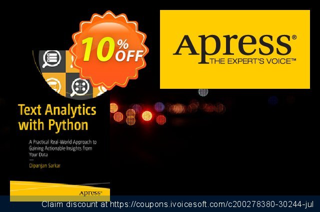 Text Analytics with Python (Sarkar) discount 10% OFF, 2021 New Year's Day offering sales