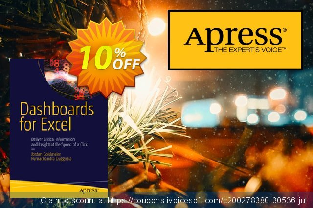 Dashboards for Excel (Goldmeier) discount 10% OFF, 2021 Spring offering discount