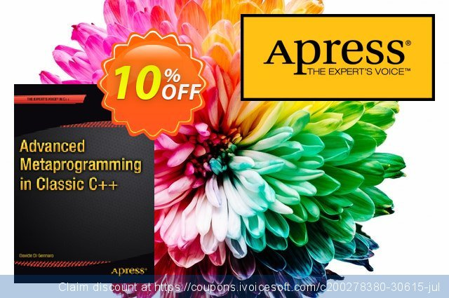 Advanced  Metaprogramming in Classic C++ (Di Gennaro) discount 10% OFF, 2020 College Student deals offering sales