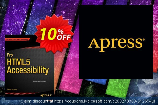 Pro HTML5 Accessibility (O Connor) discount 10% OFF, 2021 New Year offering sales
