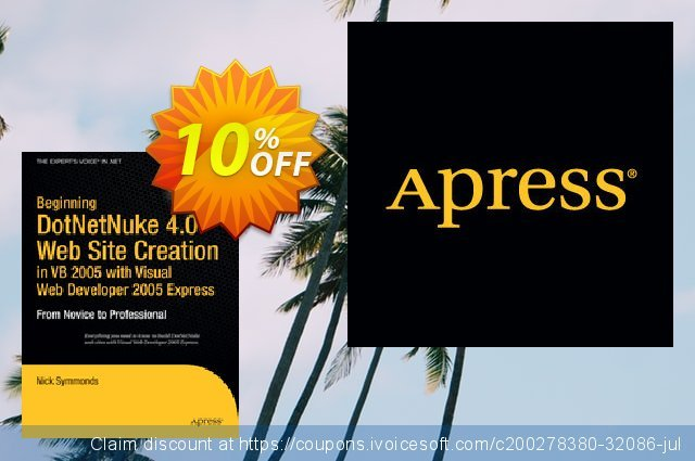 Beginning DotNetNuke 4.0 Website Creation in VB 2005 with Visual Web Developer 2005 Express (Symmonds) discount 10% OFF, 2021 Happy New Year offering sales