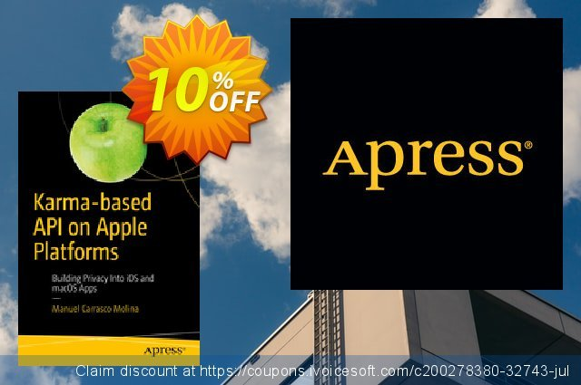 Karma-based API on Apple Platforms (Carrasco Molina) discount 10% OFF, 2020 Back to School deals offering sales