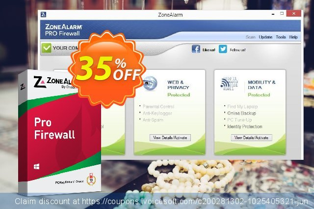 ZoneAlarm Pro Firewall (10 PCs License) discount 35% OFF, 2021 Happy New Year offering sales