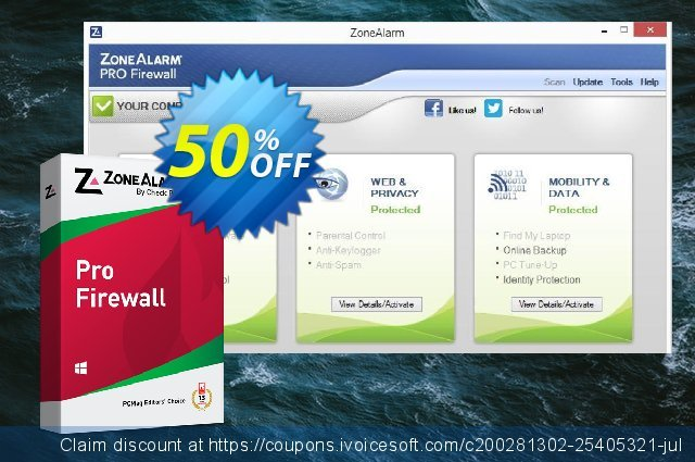 ZoneAlarm Pro Firewall discount 50% OFF, 2021 Happy New Year offering sales