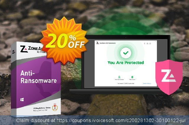 ZoneAlarm Anti-Ransomware discount 20% OFF, 2021 January offering sales
