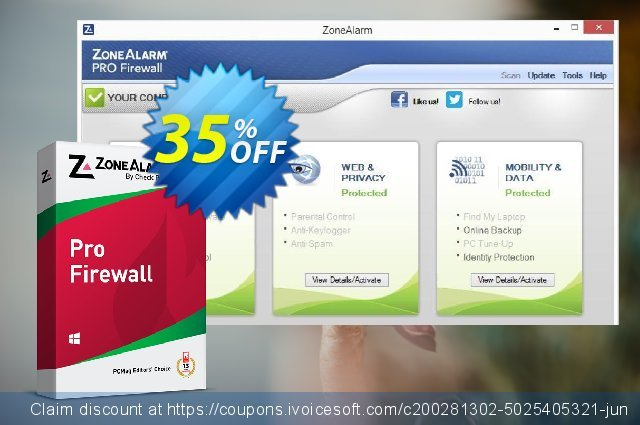 ZoneAlarm Pro Firewall (50 PCs License) discount 35% OFF, 2021 New Year offering sales