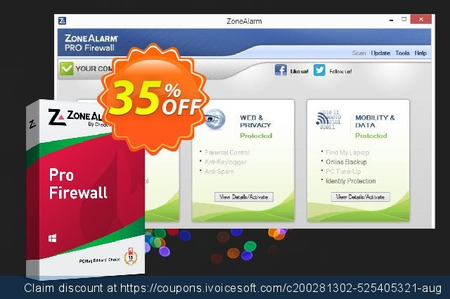 ZoneAlarm Pro Firewall (3 PCs License) discount 35% OFF, 2021 Happy New Year promo