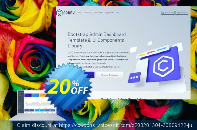 CoreUI PRO Vue.js Admin Template Team discount 20% OFF, 2021 Happy New Year promotions