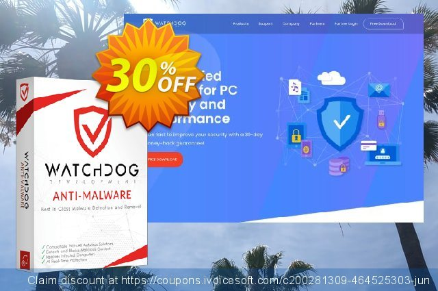 Watchdog Anti-Malware 3 year / 3 PC discount 30% OFF, 2021 Spring offering sales