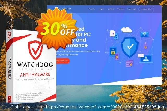 Watchdog Anti-Malware 1 year / 3 PC discount 30% OFF, 2021 Easter day offering sales