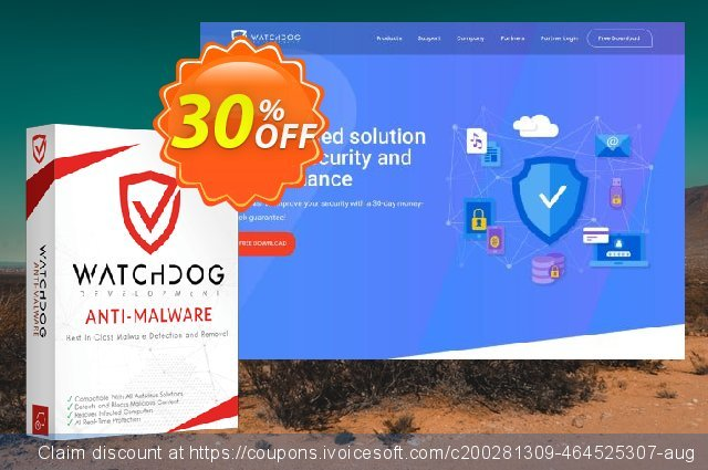 Watchdog Anti-Malware 1 year / 5 PC discount 30% OFF, 2021 Spring promotions
