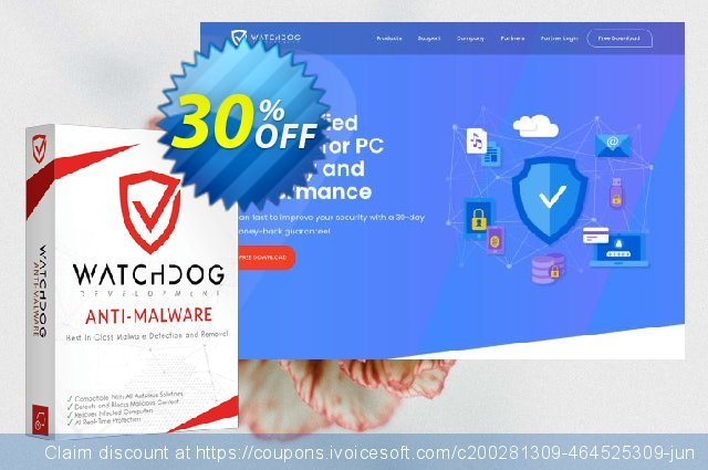 Watchdog Anti-Malware 3 year / 5 PC discount 30% OFF, 2021 Easter day deals