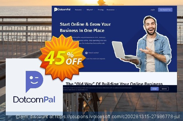 DotcomPal Start Plan Monthly discount 45% OFF, 2020 Year-End discount