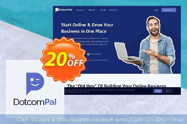 DotcomPal Start Plan discount 20% OFF, 2020 Year-End offering sales