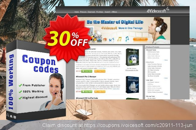 4Videosoft iPod Video Converter for Mac discount 30% OFF, 2021 New Year's Weekend offering sales