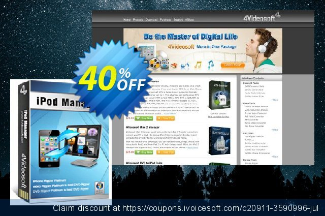4Videosoft iPod Manager discount 40% OFF, 2021 New Year's Day promo