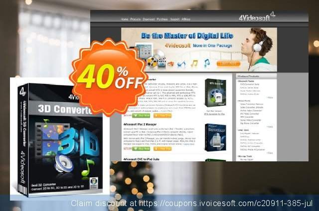 4Videosoft 3D Converter discount 40% OFF, 2021 Happy New Year discount