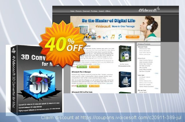 4Videosoft 3D Converter for Mac 可怕的 促销 软件截图