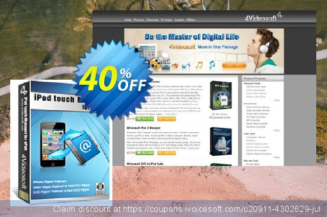 4Videosoft iPod touch Manager for ePub discount 40% OFF, 2020 Back to School event discount