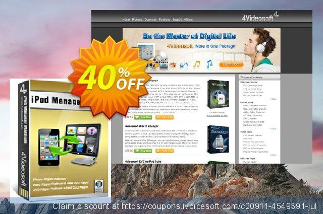4Videosoft iPod Manager Platinum discount 40% OFF, 2021 New Year's Weekend offering sales