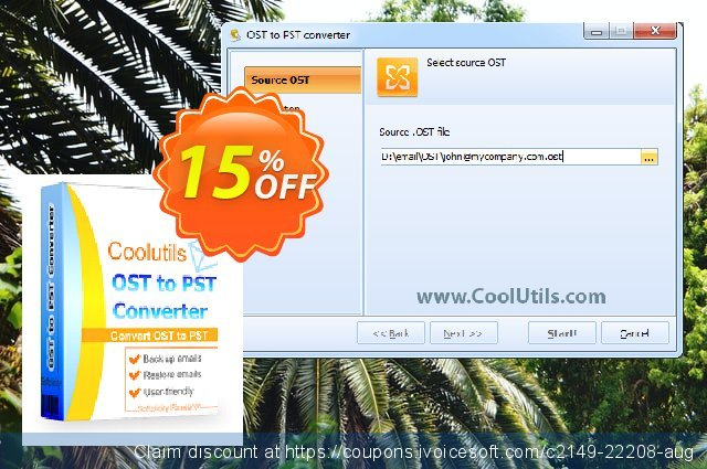 Coolutils OST to PST Converter (Site License) discount 15% OFF, 2020 Back to School offer offering sales