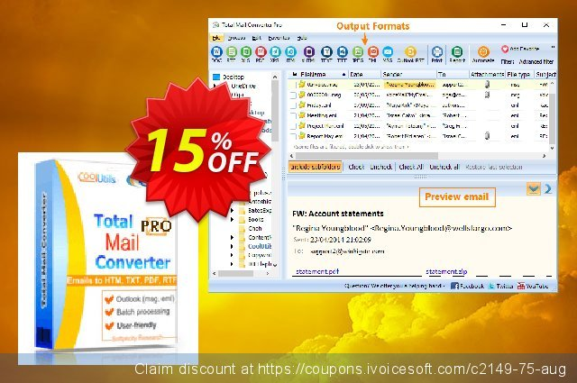 Coolutils Total Mail Converter Pro discount 15% OFF, 2020 Labour Day offering sales